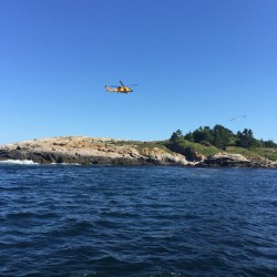 With evacuation via water ruled out, a helicopter crew from Air Station Cape Cod was activated.