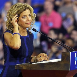 Democratic National Committee Chairwoman Debbie Wasserman Schultz speaks at a rally before the arrival of Democratic U.S. presidential candidate Hillary Clinton and her vice presidential running mate U.S. Senator Tim Kaine, in Miami, Florida, July 23, 2016.