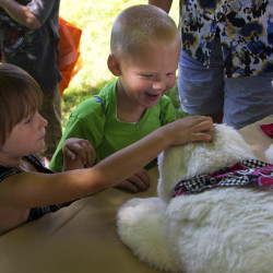 Brodie Horton (right), 4,  smiles and giggles while touching a robotic seal with Kandis Smith, 4, during a back-to-school block party on Tuesday in the Capehart neighborhood at Griffin Square in Bangor.