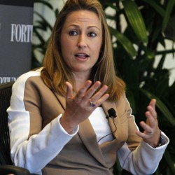 Heather Bresch, chief executive of Mylan Inc., speaks during a session at Fortune's Most Powerful Women Summit in Laguna Niguel, California, in 2012