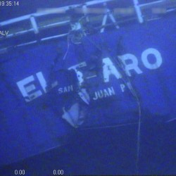 The stern of El Faro is shown on the ocean floor taken from an underwater video camera on Nov. 1, 2015.