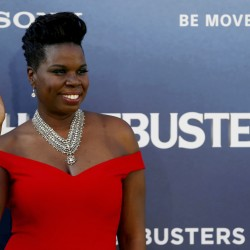 "Cast member Leslie Jones poses at the premiere of the film ""Ghostbusters"" in Hollywood, California, July 9, 2016."