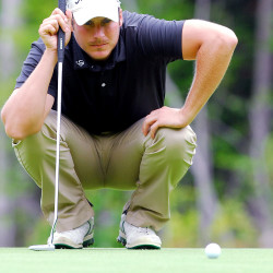 Jesse Speirs lines up a putt in the final round of the Greater Bangor Open at Bangor Municipal Golf Course, July 25, 2015.