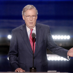 Sen. Mitch McConnell, R-Kentucky, speaks on the second day of the Republican National Convention on July 19 at Quicken Loans Arena in Cleveland.